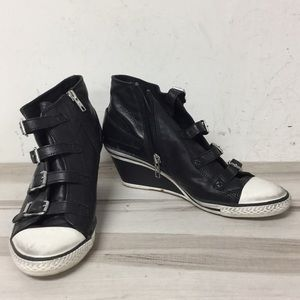 Ash Black Leather Buckle Strap Wedge Sneaker 39